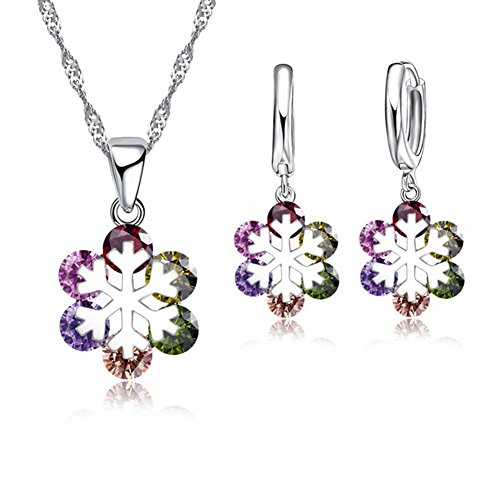 Silber Ton und Multi farbige Kristall Schneeflocke Design Ohrring und Halskette Set (Helle Farbige Möbel)