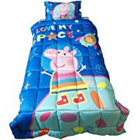 Pace Peppa Pig Out of The World Microfiber Reversible Comforter (Blue, 150 X 228 cm)