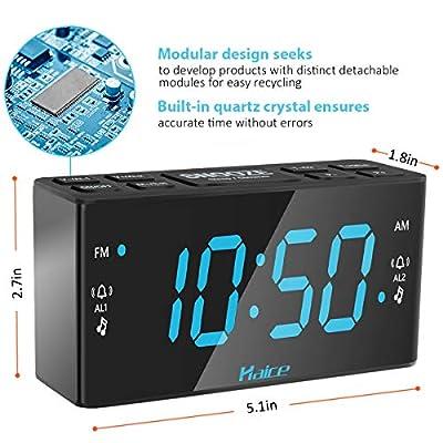 Rétro Radio Réveil, Haice Radio-réveil numérique FM / AM avec Fonction de Veilleuse, Réveil LED numérique avec écran LED 5,5 pouces / Double Alarme avec Fonction Snooze /Gradateur,Batterie de secours par Haice