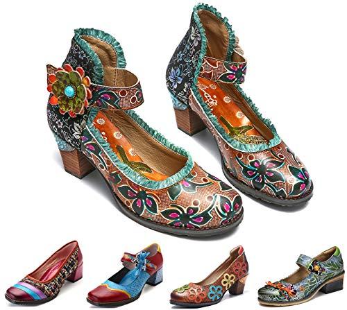 Camfosy Vintage Mary Jane Schuhe mit Absatz,Damen Leder Spitze Pumps,2019 Frühling Sommer Handgefertigte Bunt Blume Bequeme Rutschfest Elegant Party Sandalen Braun 42 ()