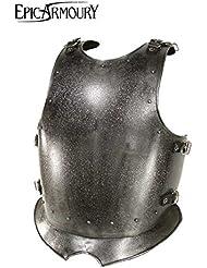 Medieval de pecho Dark Warrior de acero Pecho harnisch de armadura Armadura tanque placa LARP Vikingo Medieval diferentes tamaños, plata, large