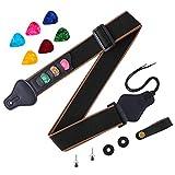 Aneco Guitar Strap Soft Adjustable Guitar Shoulder Strap With Guitar Strap Lock Guitar Buttons and Colorful Guitar Picks, 12 Pieces