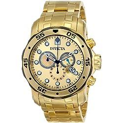Invicta 80070 Pro Diver - Scuba Reloj para Hombre Acero Inoxidable Cuarzo Esfera Oro