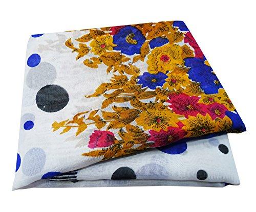 PEEGLI Indische Jahrgang Gedruckt Saree Aus Weißer Seide Mischung Nähen Handwerk Stoff Frauen Traditionellen Sari (Polka Dot Rosa Vorhänge)