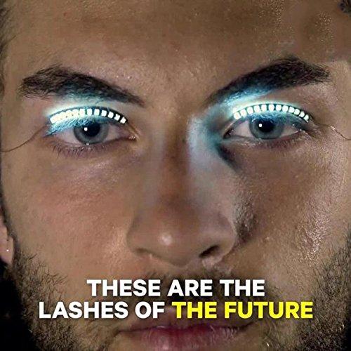 Hongch 2PCS LED Faux Cils lumineux Mode professionnel pour Daily Glowing étanche Outils de maquillage