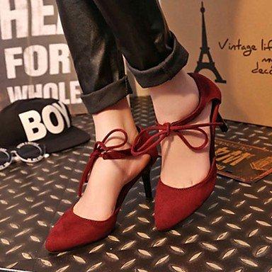 LFNLYX Talons de femme Printemps Eté Soles légères Cuir de vache Casual Stiletto Heel Noir Rouge Burgundy
