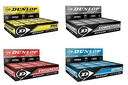 Dunlop Squash Balls (1x 3x 6x or 12x) / blue red yellow & doubleyellow