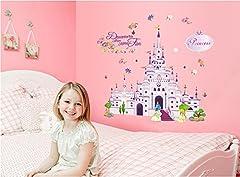 Idea Regalo - ufengke® Castello di Cartone Animato Principessa Adesivi Murali, Camera Dei Bambini Vivai Adesivi da Parete Removibili/Stickers Murali/Decorazione Murale