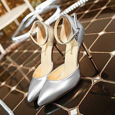 LvYuan Damen-Sandalen-Lässig-PU-Stöckelabsatz-Komfort-Weiß Silber Grau gray