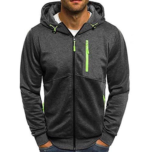Yvelands Solid Color Sweater Moda para Hombre Cremallera Casual Patchwork Sudadera con Capucha Rebeca Tops de Manga Larga Outwear Otoño Invierno, Liquidación (Negro, XL)