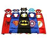 JouerNow Supereroe Superhero Supergirl Batman Spiderman Bambino Costume Mantellina+Maschera(5 Sets)Halloween Christmas Festa di compleanno regalo