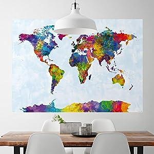 Close Up Póster XXL del Mapa del Mundo en Acuarelas Michael Tompsett (140cm x 100cm) + 1 Paquete de tesa Powerstrips® (20 Tiras)