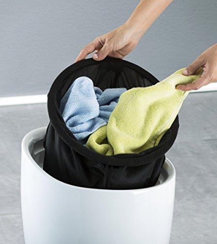 Wenko Hocker Candy White I Weißer Badhocker aus Kunststoff mit abnehmbarem Wäschesack aus 100% Polyester, Ø: 36 cm x H: 50,5 cm - 4