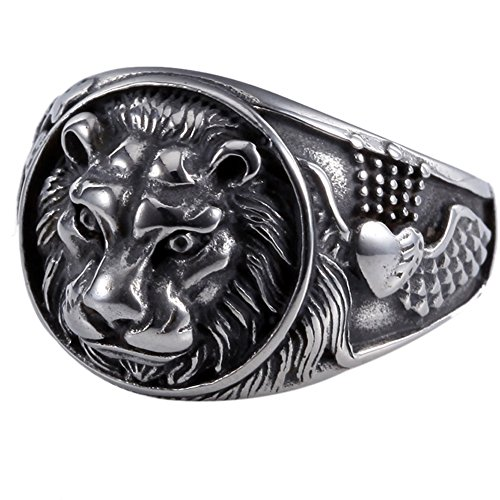 Lion King Mens 316L Stainless Steel Biker Rocker Gothic Vintage Black Ring Size 7-13