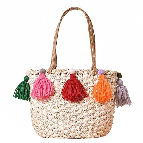Troddel Schulter Stroh Farbe Beutel Buchstaben Wolle Natürliche Handtaschen Damen Simplism & stilvolle gewebte Frauen Mode Weave Simple Beach Tote -