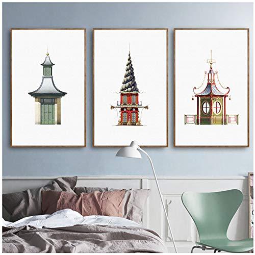 XIONGSHENG Leinwand Malerei Nordischen Stil Drucke Dekoration Traditionellen Chinesischen Gebäude Wandkunst Modulare Bilder Poster Für Kinderzimmer-50X70 cm Ungerahmt -