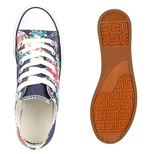 Trendige Unisex Sneakers | Low-Cut Modell | Basic Freizeit Schuhe | Viele Farben | Gr. 36-45 Dunkelblau Blumen