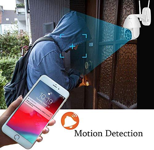 Ptz Kamera Aussen WLAN Überwachungskamera 1080P HD Zwei Wege Audio IR-Nachtsich, IP66 wasserfest, Bewegungserkennung, Unterstützung Micro SD Karten für Haus Außen Innen