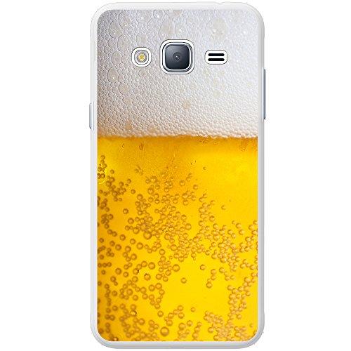 Nahaufnahme schaumiges Bier weiße Krone Hartschalenhülle Telefonhülle zum Aufstecken für Samsung Galaxy J3 (2016) (J320F)