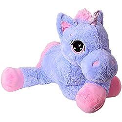 TE-Trend Caballo De Peluche Caballo XXL unicornio unicornio tendida 130cm Púrpura o Fucsia con glitzerhorn y ausdrucksvollen OJOS - lila, morado