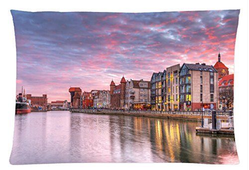 Poland Houses Rivers Gdansk Clouds Cities Style Pillowcase Cover 20x30 (one side) Cotton Pillow Case