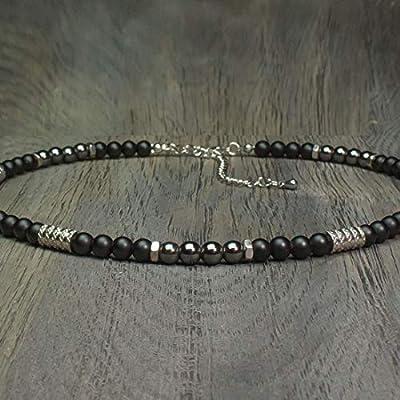 Collier Homme Taille 46-55cm perles Ø 6mm pierre gemme Agate Noir Hématite - anneaux hexagone breloque pendentif Acier inoxydable Fait main Made in France COLLINIX18