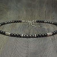 f6dc2fa2022 Collier Homme Taille 44-50cm perles Ø 6mm pierre gemme Agate Noir Hématite  - anneaux
