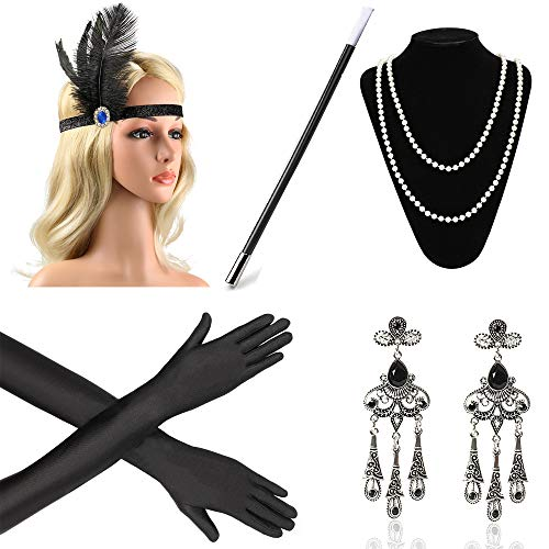 Beelittle 1920s Accesorios Set Diadema, Collar, Guantes, Porta-Cigarrillos Great Gatsby Disfraces Set para Mujeres (A3)
