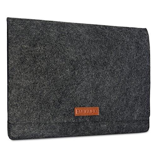 KANVASA Filz Sleeve 14 Zoll Laptop & 15 Zoll MacBook Pro - Edle Laptoptasche Hülle Laptophülle Filztasche Anthrazit mit Braunem Leder - Tasche für Notebook Ultrabook von Samsung Acer Lenovo Dell UVM.