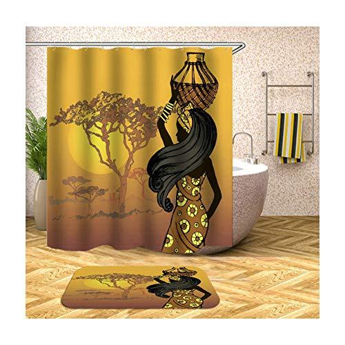Bishilin Baum Afrikanische Frau Antischimmel 3D Duschvorhang 180x200, Badezimmerteppich Toilette 40x60 Badematte Toilette