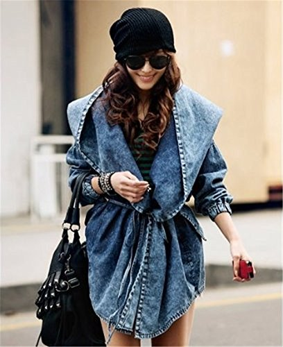Très Chic Mailanda Damen Mode Elegante Jeans Jacke mit Kapuze Cardigan Jacken Trench Coat NZ566