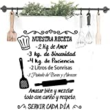 Docliick Frase Vinilo para cocina o restaurante'NUESTRA RECETA.' Vinilos decorativos Docliick DC-18035 (Vinilo de corte, 120x60cm)