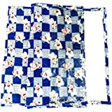 My Mother's Lap 3 Layer Teddy Bear Print Cotton Diper Changing Mat - Blue White And Red, Pack Of 2