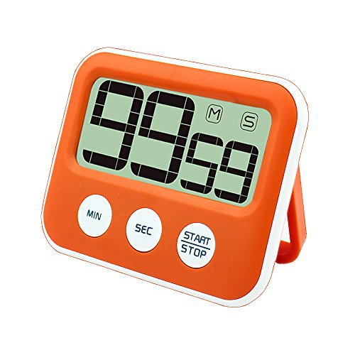 Timer digitale da cucina, Jeasun Count Down sveglia Timer Timer da cucina magnetico con grande display LCD, forte suono allarme a batteria, per cottura/scuola/palestra Orange