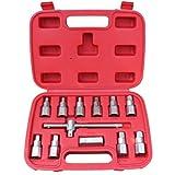 Jago Ölstopfen-Schlüssel KFZ Ölwechsel aus CV-Stahl 7 x Sechskant 4x Vierkant inkl. Hebelgleitgriff im Transportkoffer
