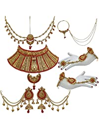 Lucky Jewellery Bridal Golden Red Color Alloy Gold Plated Wedding Jewellery Set For Girls & Women - B07CVK32VZ