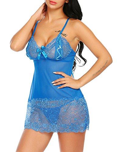 Untlet Heiß Damen Floral Spitzen Reizwäsche Negligee Unterwäsche Tiefer V-Ausschnitt Nachthemd Nachtkleid Dessous Babydoll mit G-String Blau