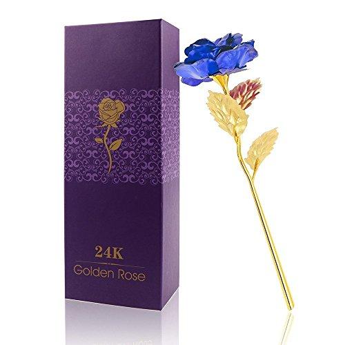 ALLOMN Rose 24K Gold überzogene Rosen-Blume mit Geschenk-Kasten Valentinstag Muttertag Weihnachtsgeburtstag Golden/Rot / Lila/Blau (Blau)