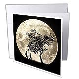 3dRose gc_18134_2 Lot de 12 cartes de vœux Motif silhouette pleine lune 15 x 15 cm