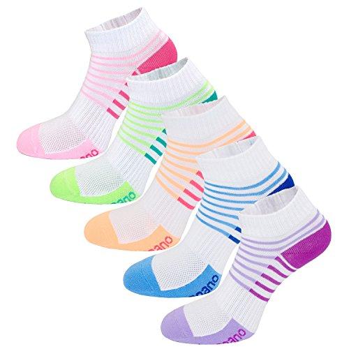 Aaronano 5er Pack Damen Socken Hälfte Cush Terry Quarters Laufsocken Sneaker Socken Running Socks Sportsocken mit verstärkter Frotteesohle - Größe(35-40 EU)-stoßabfedernd schützend