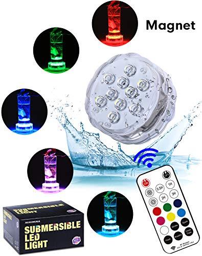 Unterwasser Licht mit RF Fernbedienung - Alilimall Wasserdichte whirlpool Multifarbene 2019 Neue Magnet LED Beleuchtung Badewannen LED Poolbeleuchtung für Teich Aquarium Weihnachtsdekoration