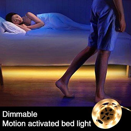 Öuesen Bewegung aktiviert Bett Licht Dimmbar, Flexible LED Streifenlicht, Auto Ein/Aus Bewegungsmelder Nachttischlampe, Bewegung aktivierte LED-Lichtleiste, Einstellbare Zeit und Helligkeit(Warmweiß, 1 Sensoren, 1 x 1.2M)