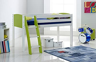 Cabin Bed 3FT Wide Shorty - White/Lime - Curved Ladder - Made In The UK.