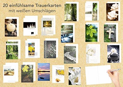 Edition Seidel Set 20 einfühlsame Trauerkarten/Beileidskarten mit Umschlag. Trauerkarte Beileidskarte mit Spruch schreiben (Doppelkarten/Klappkarten mit