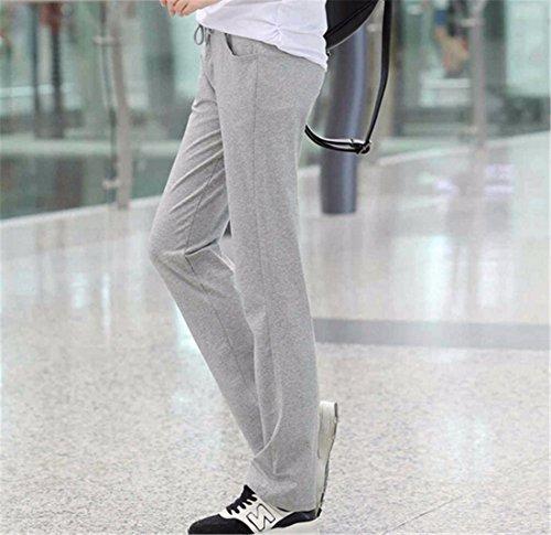 QIYUN.Z Les Femmes Cordon De Serrage Pantalon Droit elastiques Longs Sportifs Occasionnels Pantalon Stretch Gris