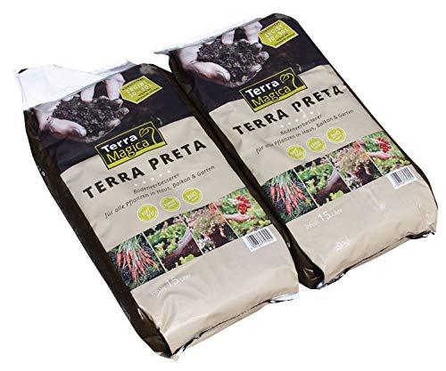 Terra Magica ® (DOPPELPACK 2 x 15 Liter) - Schwarze Erde (Terra Preta) KONZENTRAT mit mikrobiologisch aktiver Pflanzenkohle - 30 Liter Konzentrat ERGEBEN in Mischung mit Gartenerde 60-180 LITER