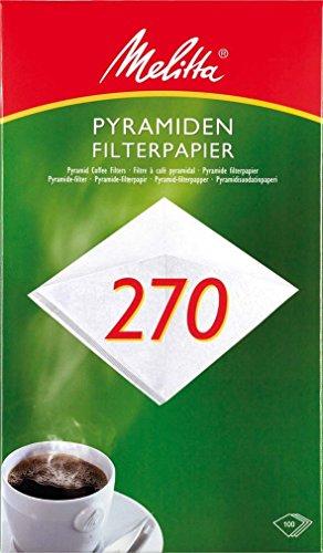 Melitta Pyramiden-Filterpapier 270 G, Weiß, 100 Stück