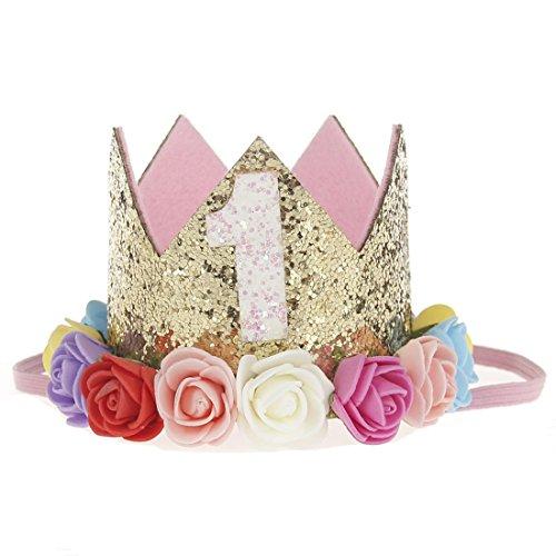 Hocaies neue Fashion Lovely Blume Krone Elastic Mädchen Headbands Baby Girl Pearl Krone Haarreifen Babyschmuck ()