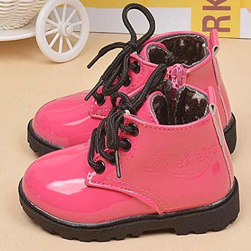 BZLine® Baby jungen Mädchen Schuhe warme Sohle Martin Stiefel Krabbelschuhe Hot Pink