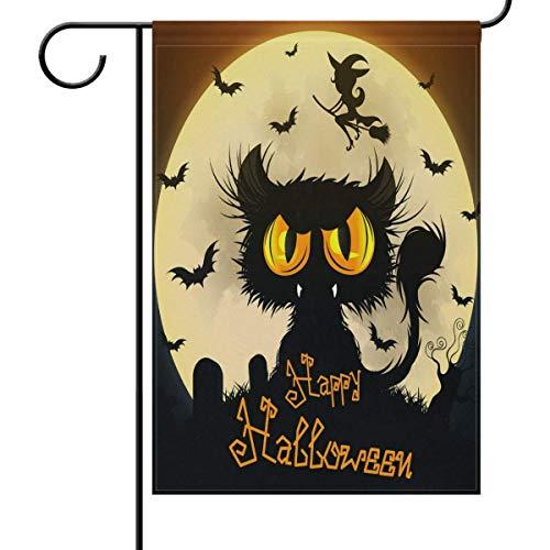ve Gartenflagge Halloween Schwarze Katze Mond doppelseitig Haus Hofflagge Hexe Fledermaus Grab Saisonale Outdoor Flaggen Bannner 31,5x45,7 cm ()